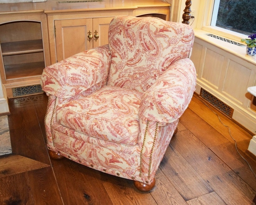 Amazing A Custom Upholstered Chair In A Coral Paisley Sunbrella Fabric ...