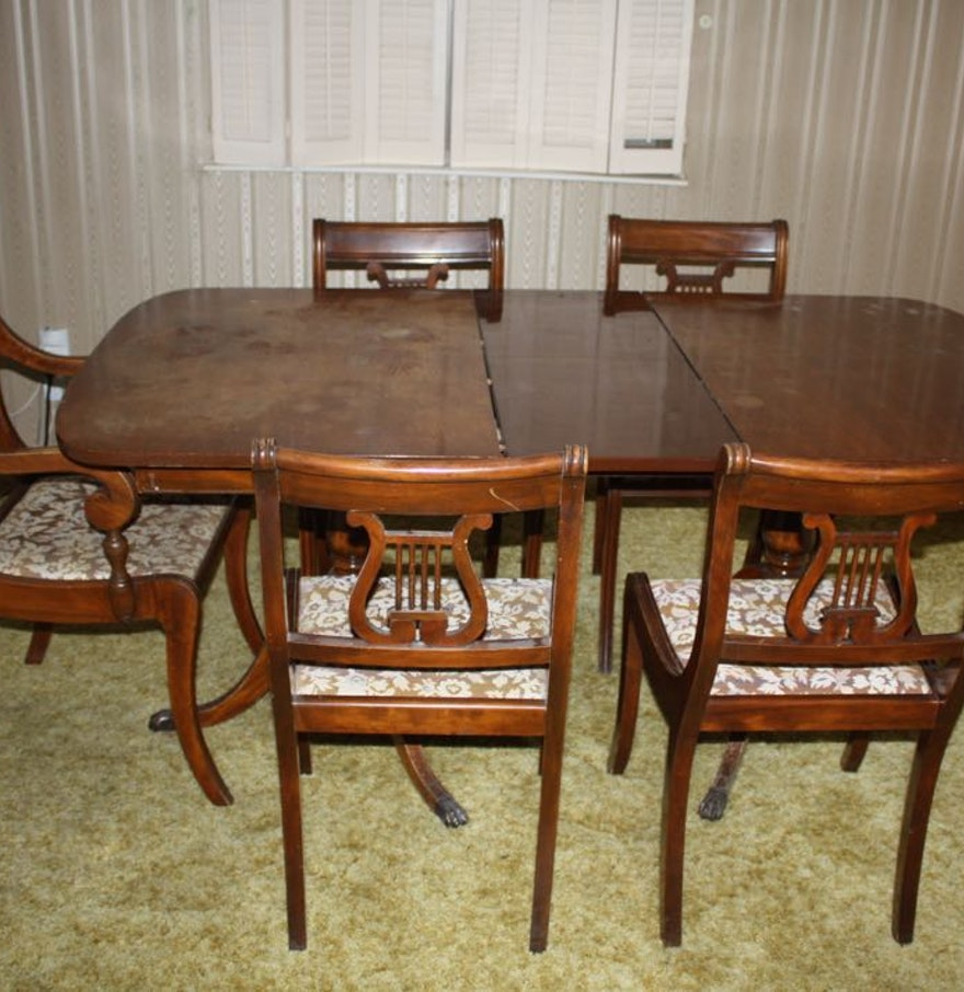Duncan Phyfe Style Dining Table and Chairs EBTH