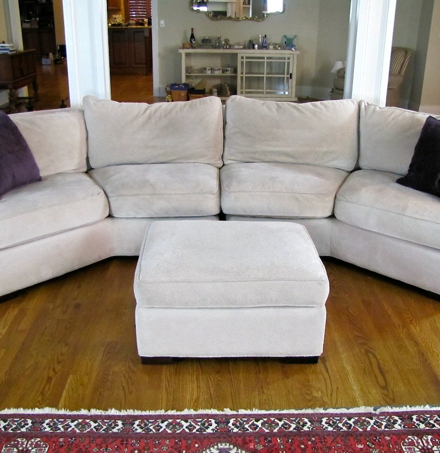 Down Filled Arhaus Sectional Sofa With Ottoman Ebth