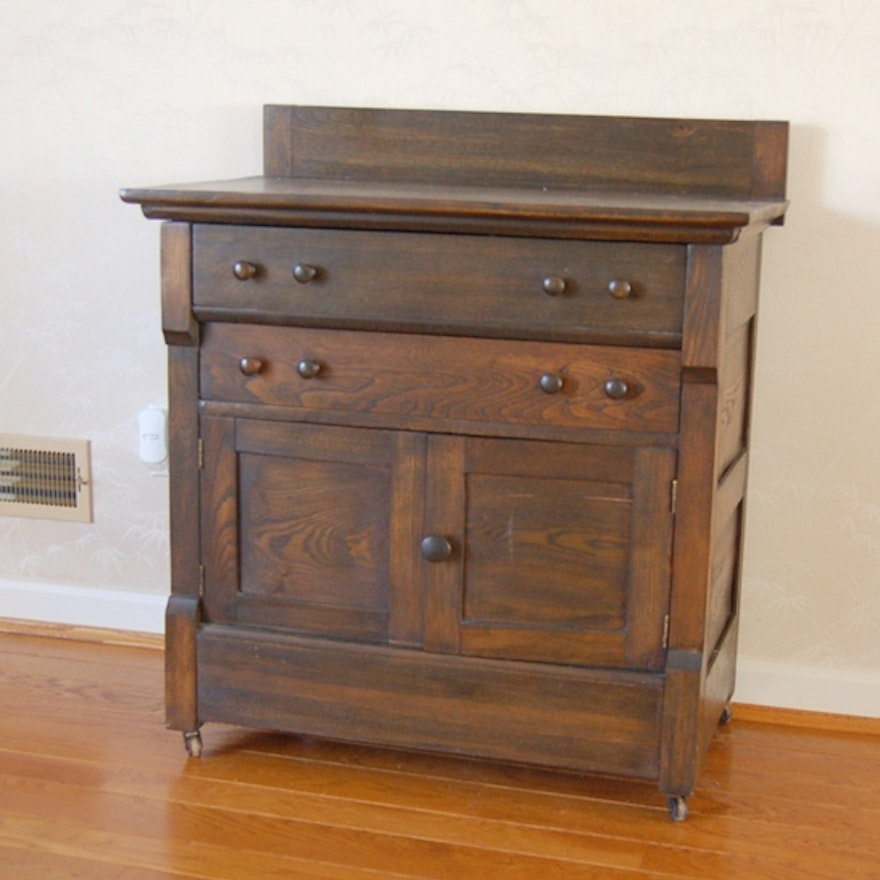 Antique Dark Stained Commode By West Michigan Furniture Co