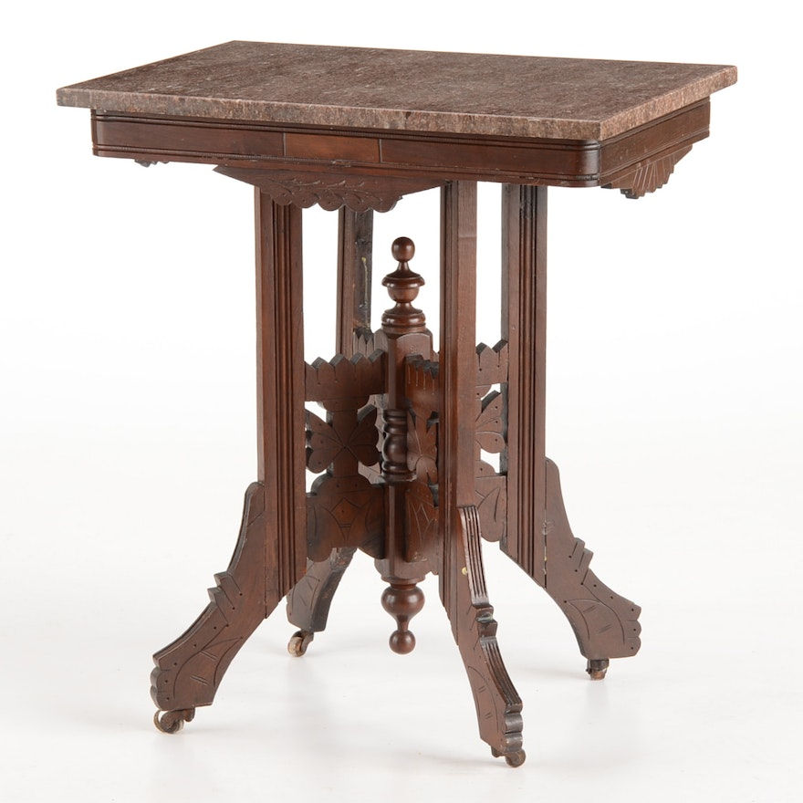 Victorian Eastlake Style Marble Top Center Table Ebth