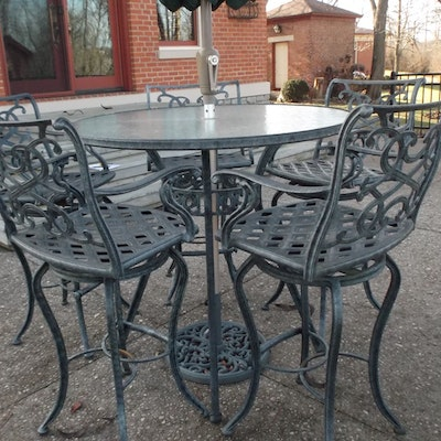 Tall Patio Table and Chairs with Umbrella - Patio Furniture Auction Outdoor And Garden Decor Auctions In