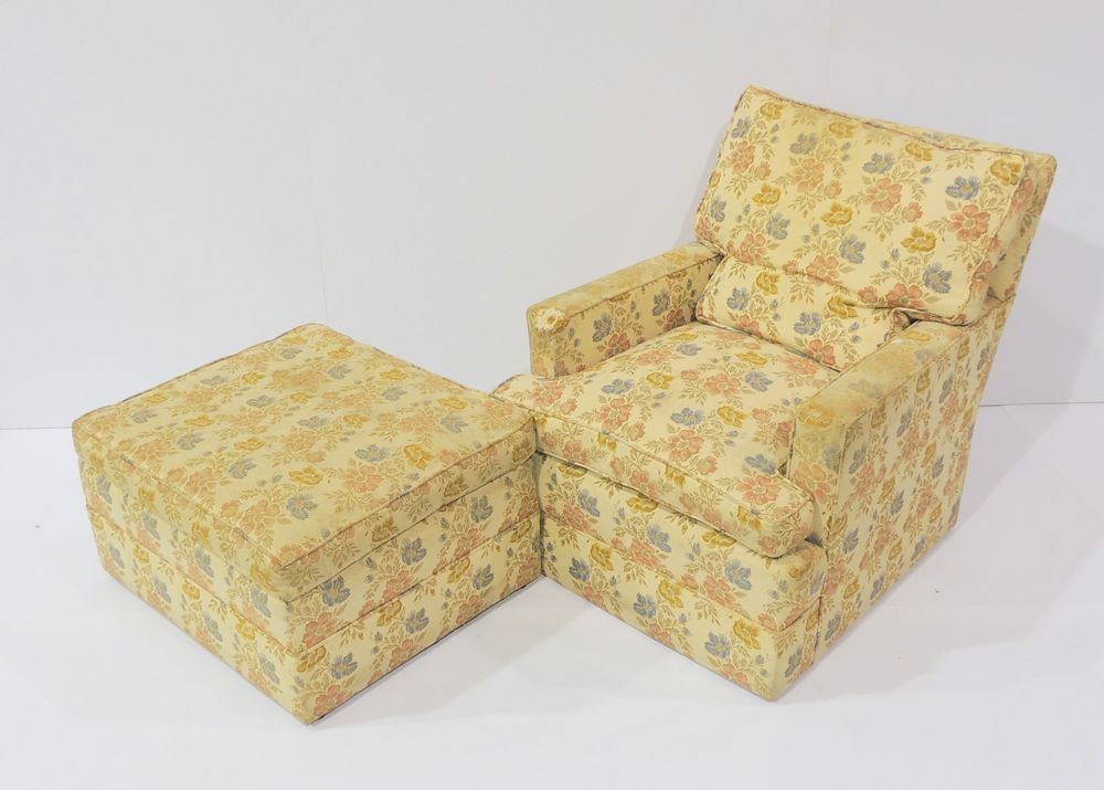 Floral Down Feather Club Chair with Ottoman : EBTH