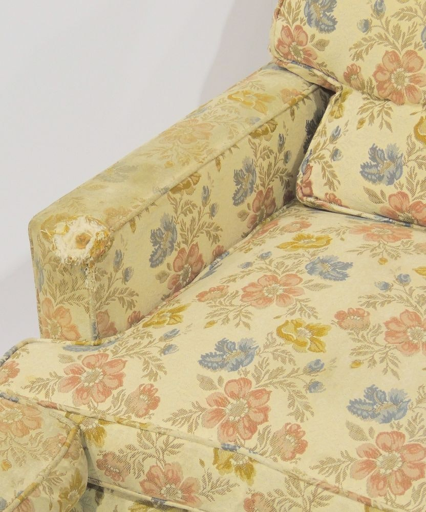 Floral Down Feather Club Chair With Ottoman Ebth