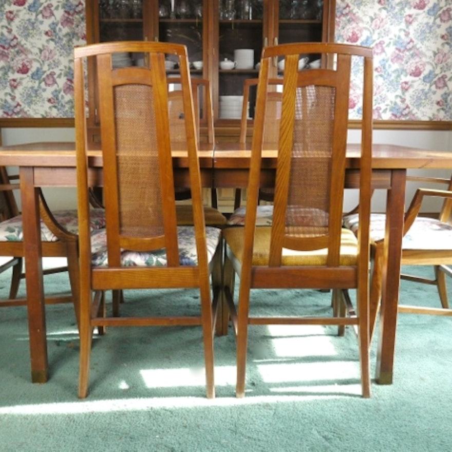 Mid Century Modern Dining Table With Six Cane Back Chairs