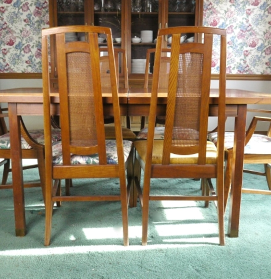 mid century modern dining table with six cane back chairs ebth. Black Bedroom Furniture Sets. Home Design Ideas