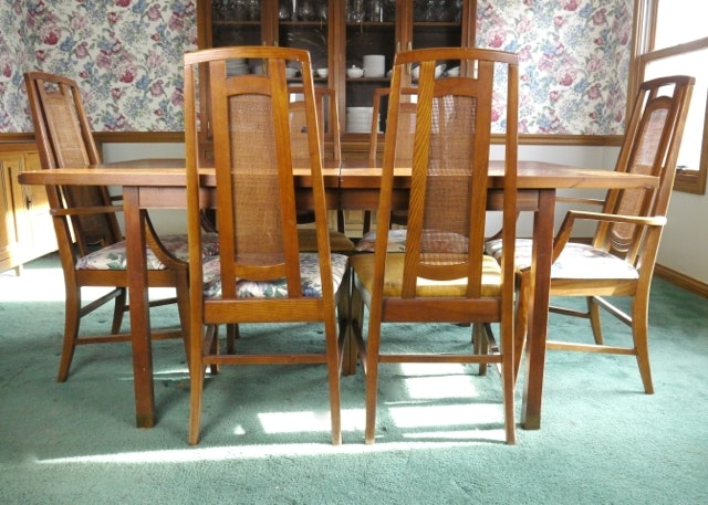 Mid Century Modern Dining Table With Six Cane Back Chairs ...