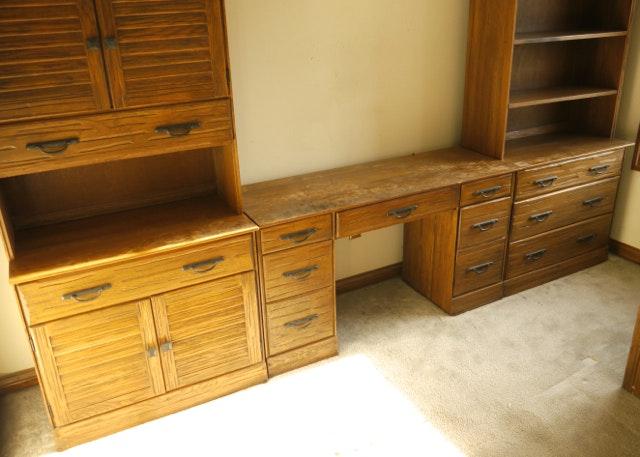 Vintage A Brandt Quot Ranch Oak Quot Desk Dresser Bookcase