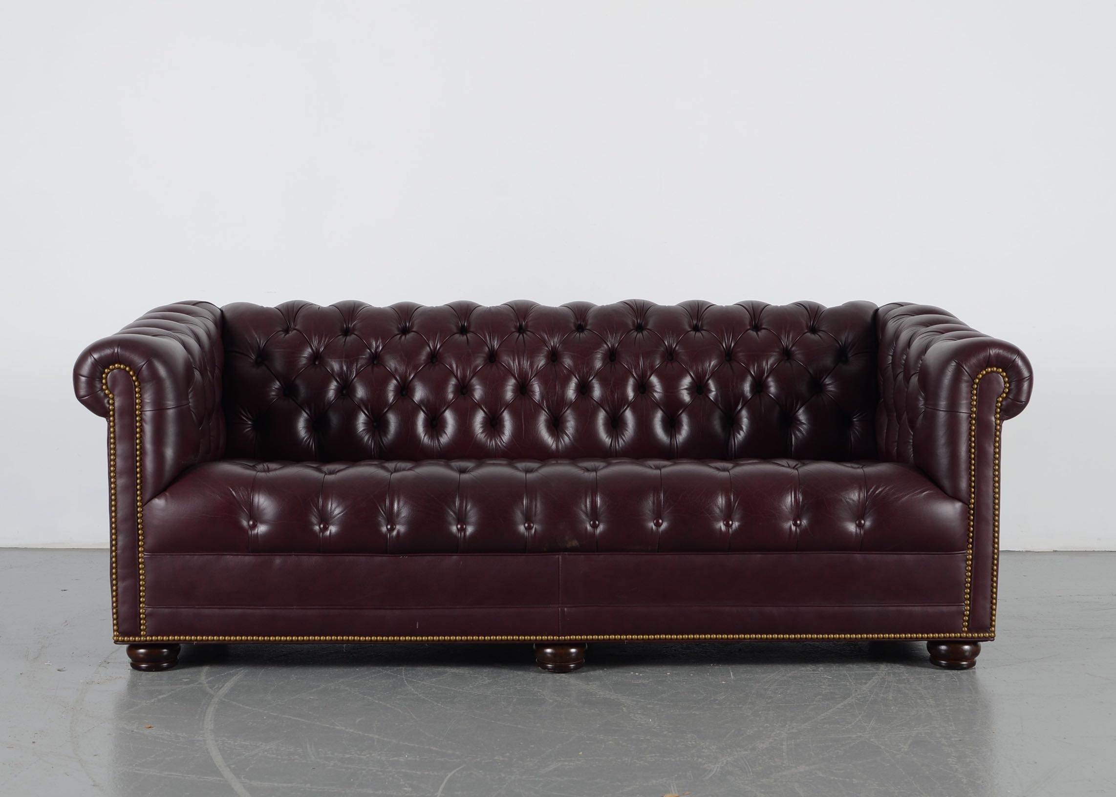 Hancock Moore Burgundy Tufted Leather Chesterfield Sofa Ebth