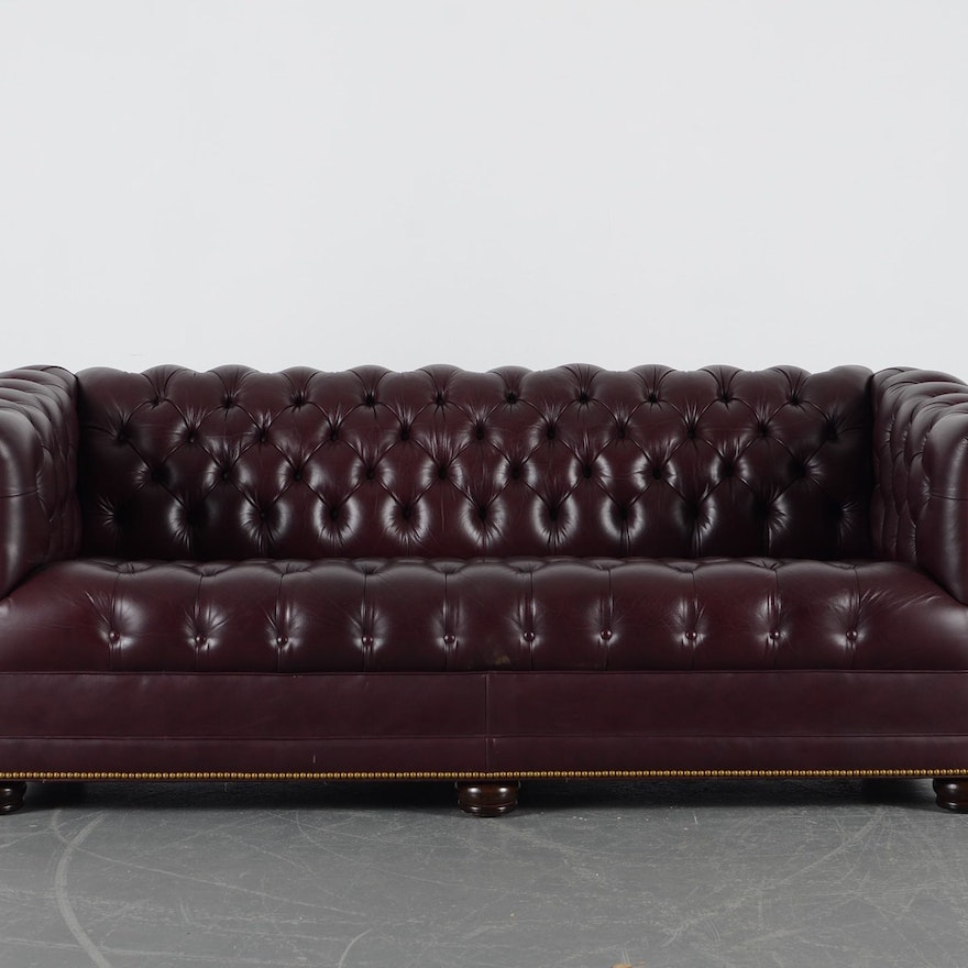 Han Moore Burgundy Tufted Leather Chesterfield Sofa