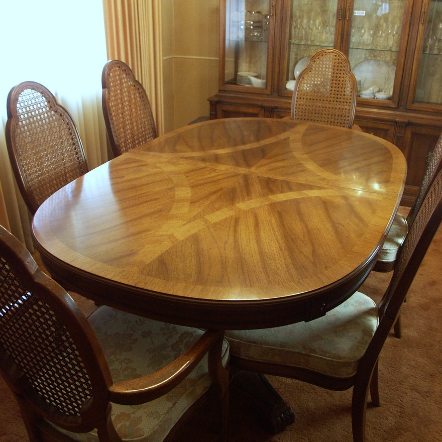 Awesome Hickory Furniture Dining Table And Six Chairs Caraccident5 Cool Chair Designs And Ideas Caraccident5Info