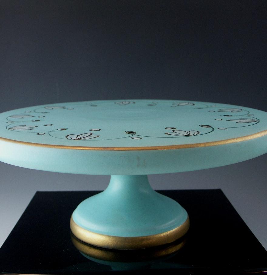 Pretty mid century italian pottery pedestal cake stand ebth for Pretty cake stands