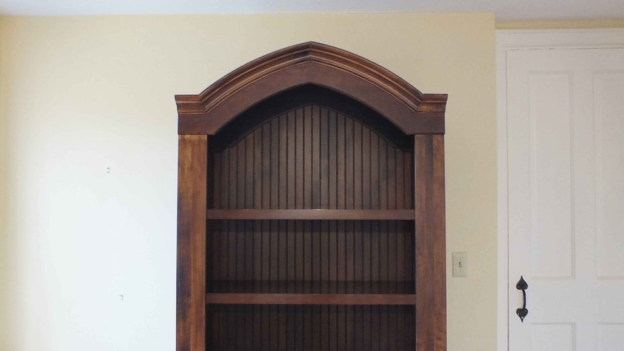 Gothic Style Wood Book Case Ebth