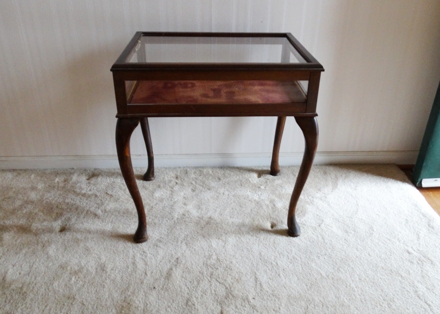Small Maple And Glass Curio Display Table Ebth