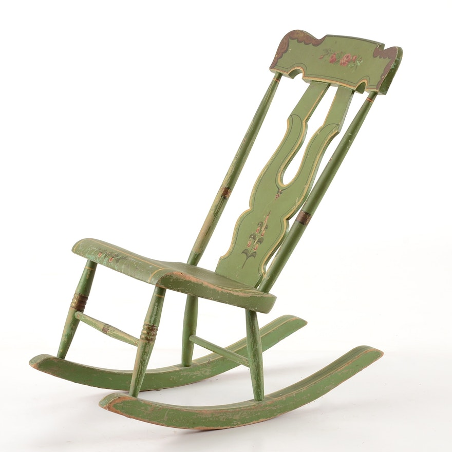 Vintage Hand-Painted Armless Rocking Chair ... - Vintage Hand-Painted Armless Rocking Chair : EBTH