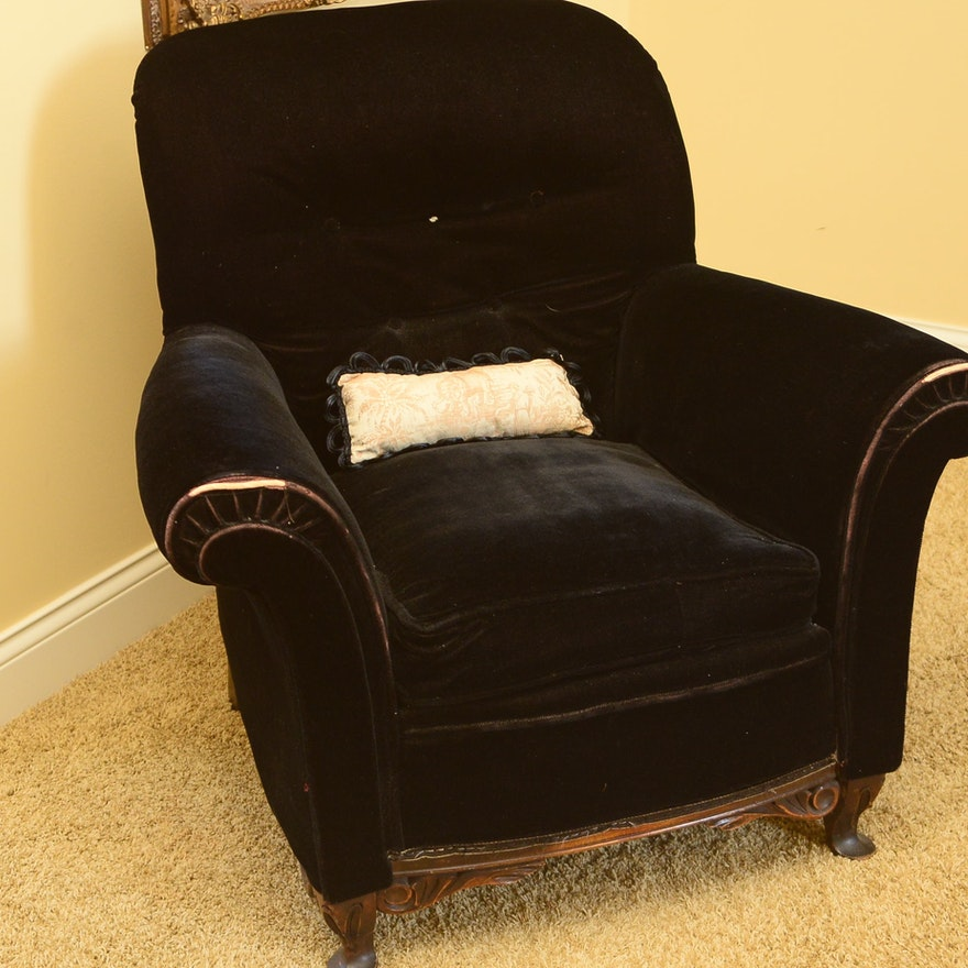 Fancy Black Velvet Rolled Arm Chair With Carved Apron Ebth