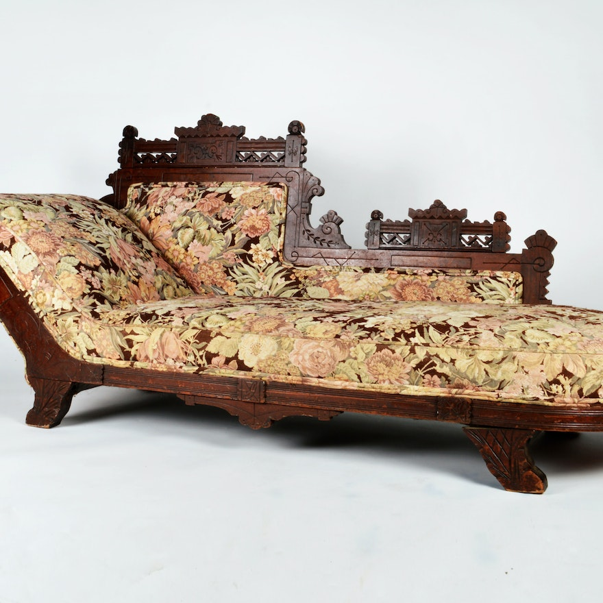 Antique Eastlake Sofa: Victorian Eastlake Style Fainting Couch