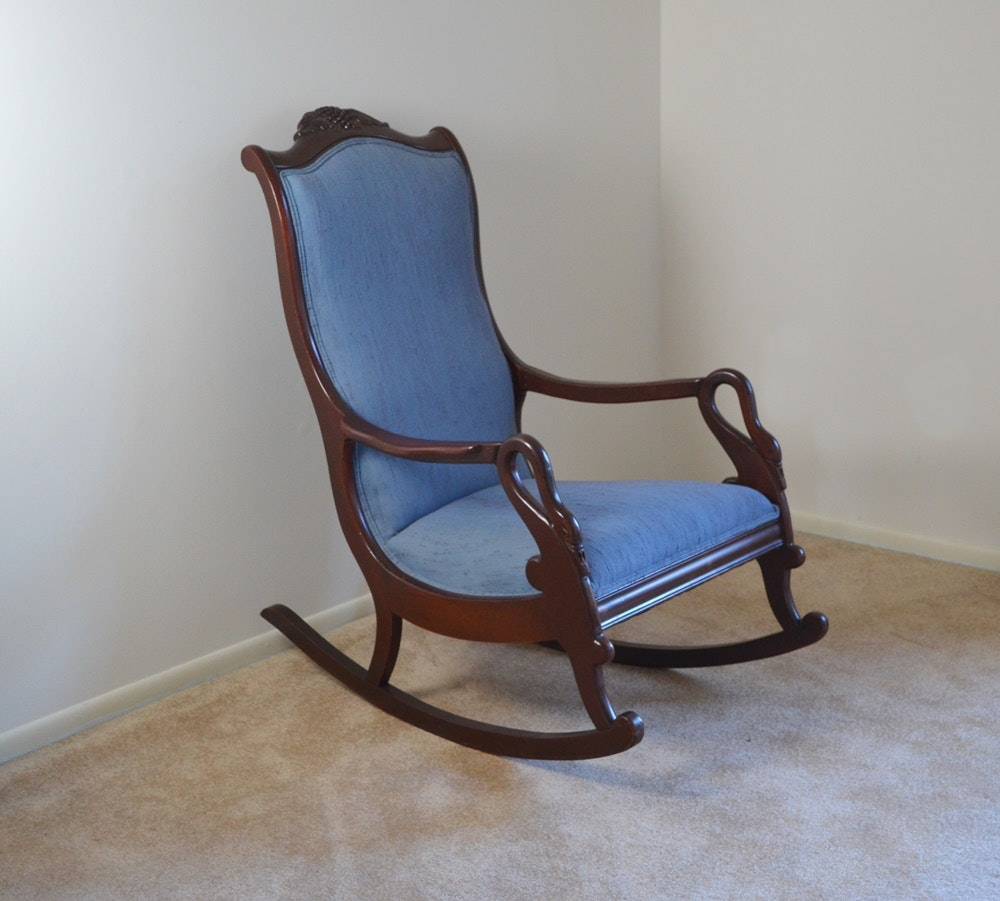 Circa 1920s 1940s Colonial Revival Swan Neck Rocking Chair