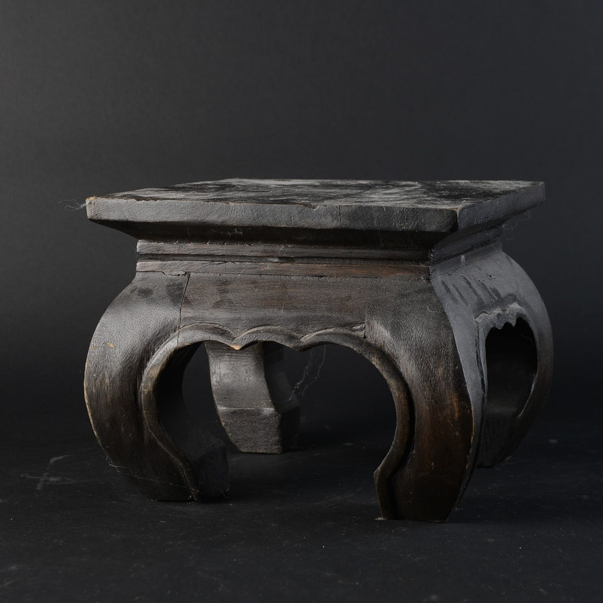 Asian Wooden Stool Or Plant Stand