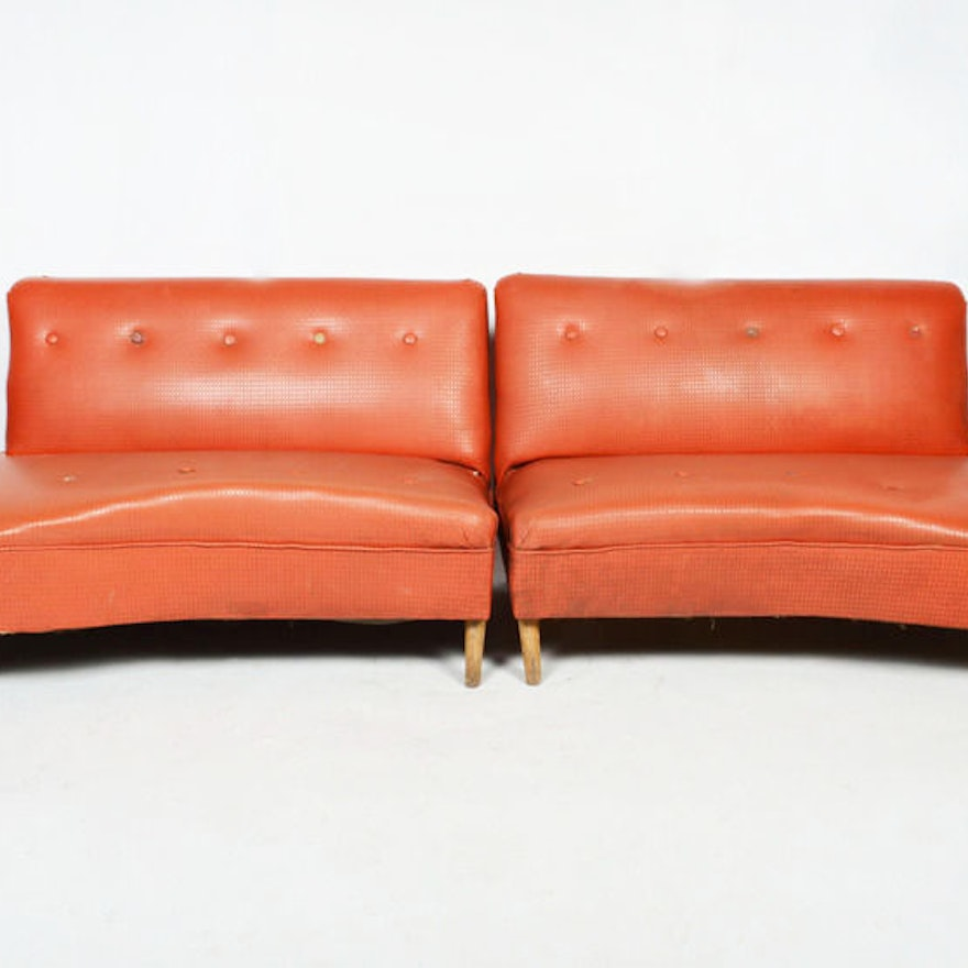 Vintage 1950s Red Vinyl Sectional Sofa