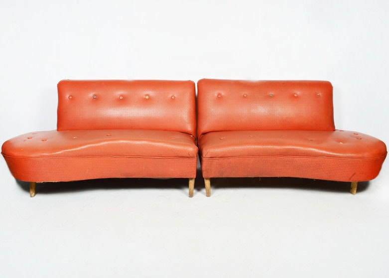 Vintage 1950s Red Vinyl Sectional Sofa ...