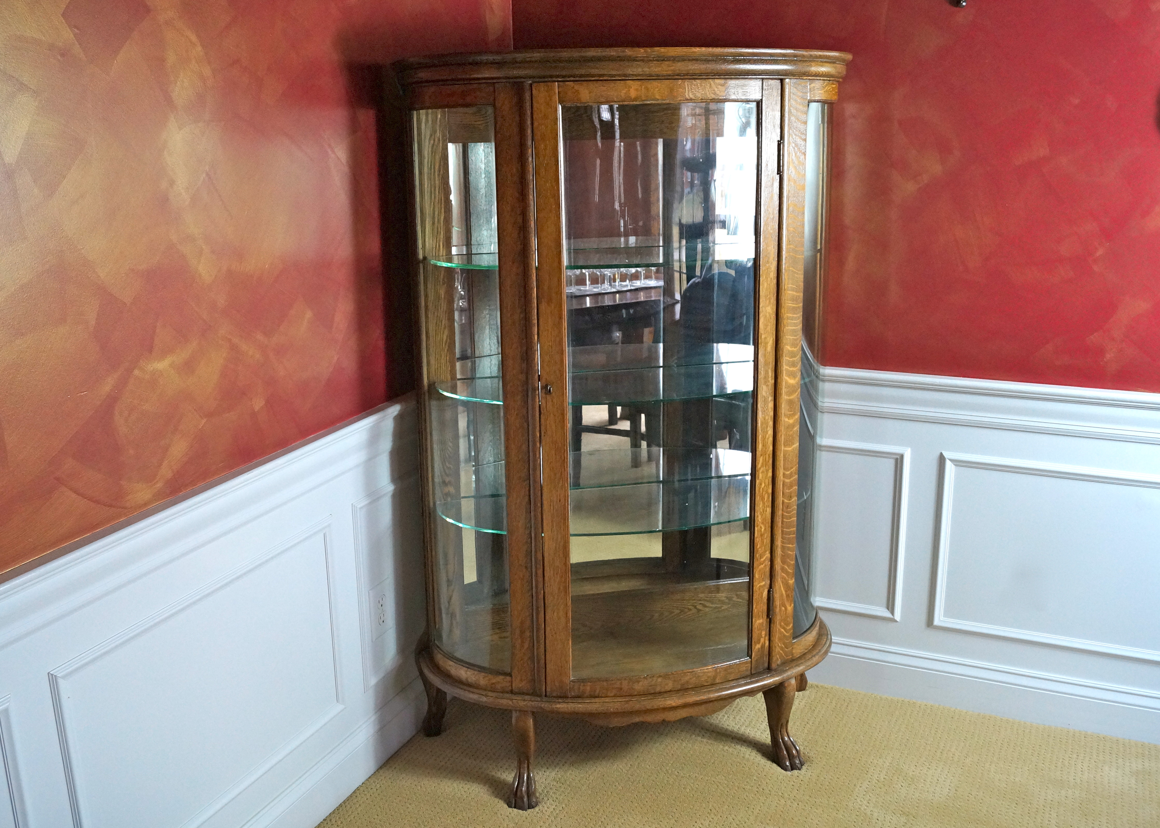 Antique Oak Curved Glass China Cabinet with Claw Feet : EBTH