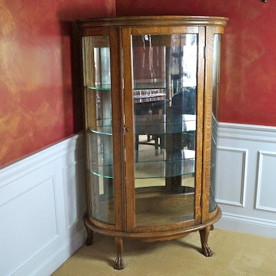 Antique Oak Curved Glass China Cabinet with Claw Feet - Vintage And Antique Cabinets Auction In Anderson, Ohio Personal
