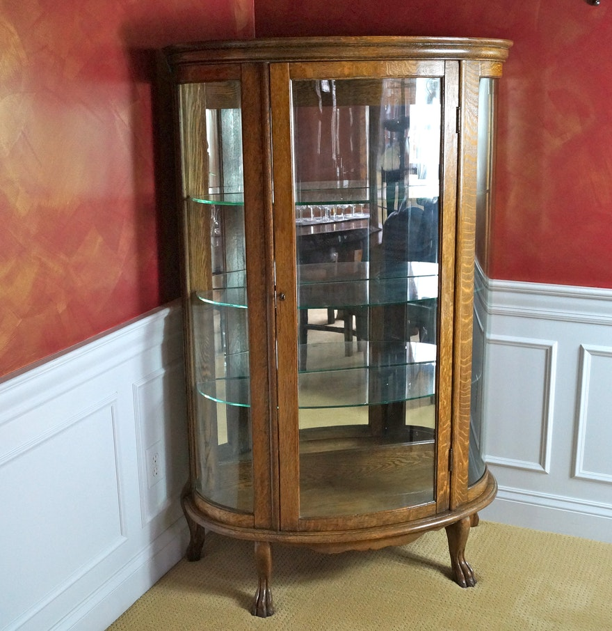 Antique Oak Curved Glass China Cabinet with Claw Feet ... - Antique Oak Curved Glass China Cabinet With Claw Feet : EBTH