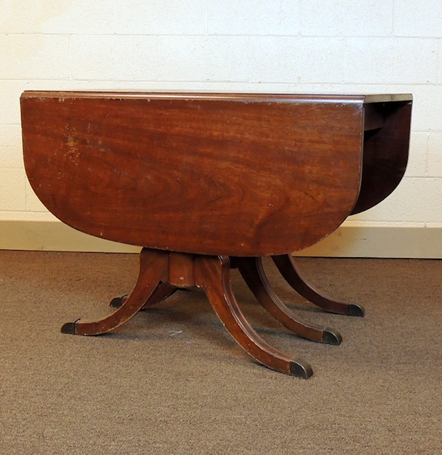 Dining Table With Three Extension Leaves And Six Matching: Duncan Phyfe Drop Leaf Mahogany Dining Table : EBTH