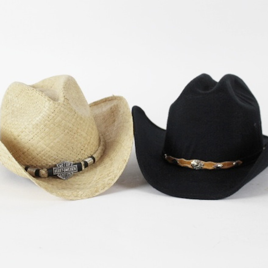 45e6d867e Black Felt Western Express and Harley-Davidson Cowboy Hats