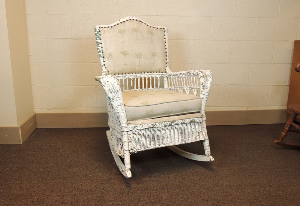 Shabby Chic Cottage Wicker Rocking Chair ...