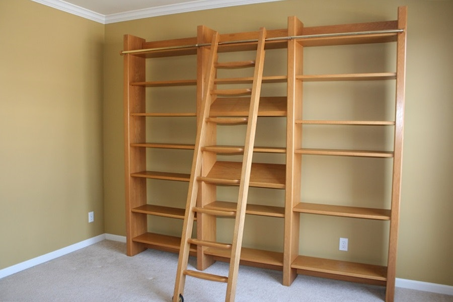 laerkereden wall bookshelf with rolling library ladder