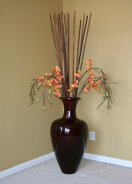 Fantastic Large Decorative Vase with Bamboo Sticks and Silk Orchids : EBTH QH15