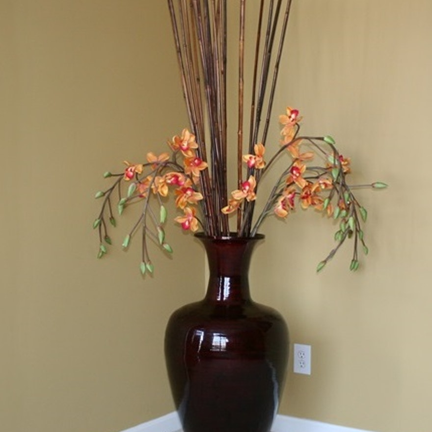 Large Decorative Vase With Bamboo Sticks And Silk Orchids Ebth