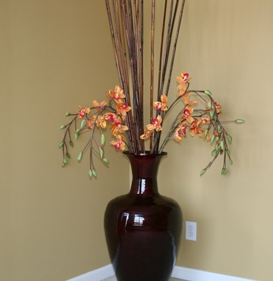 Vase With Bamboo Sticks ~ Large decorative vase with bamboo sticks and silk orchids