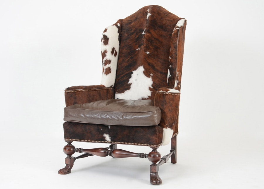 Southwestern Cowhide And Leather High Wingback Chair ...