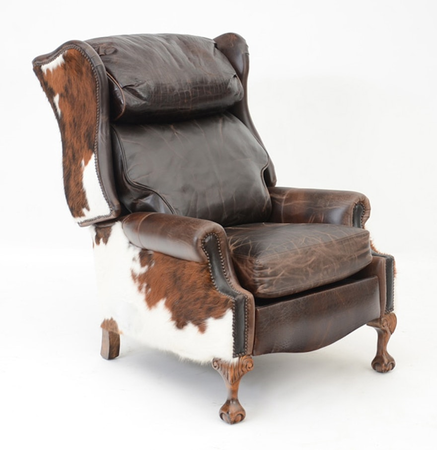 southwestern leather and cowhide reclining chair ebth. Black Bedroom Furniture Sets. Home Design Ideas