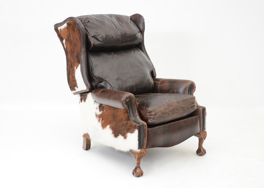 Southwestern Leather And Cowhide Reclining Chair ...
