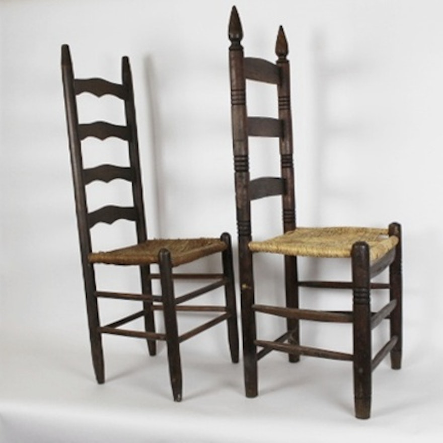 Two Antique Ladder Back Chairs with Rush Seats ... - Two Antique Ladder Back Chairs With Rush Seats : EBTH