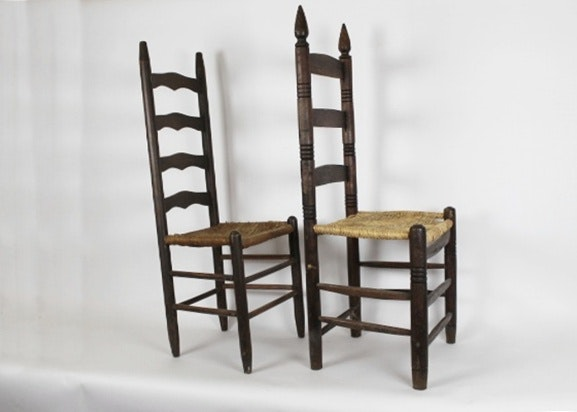 Two Antique Ladder Back Chairs With Rush Seats ...