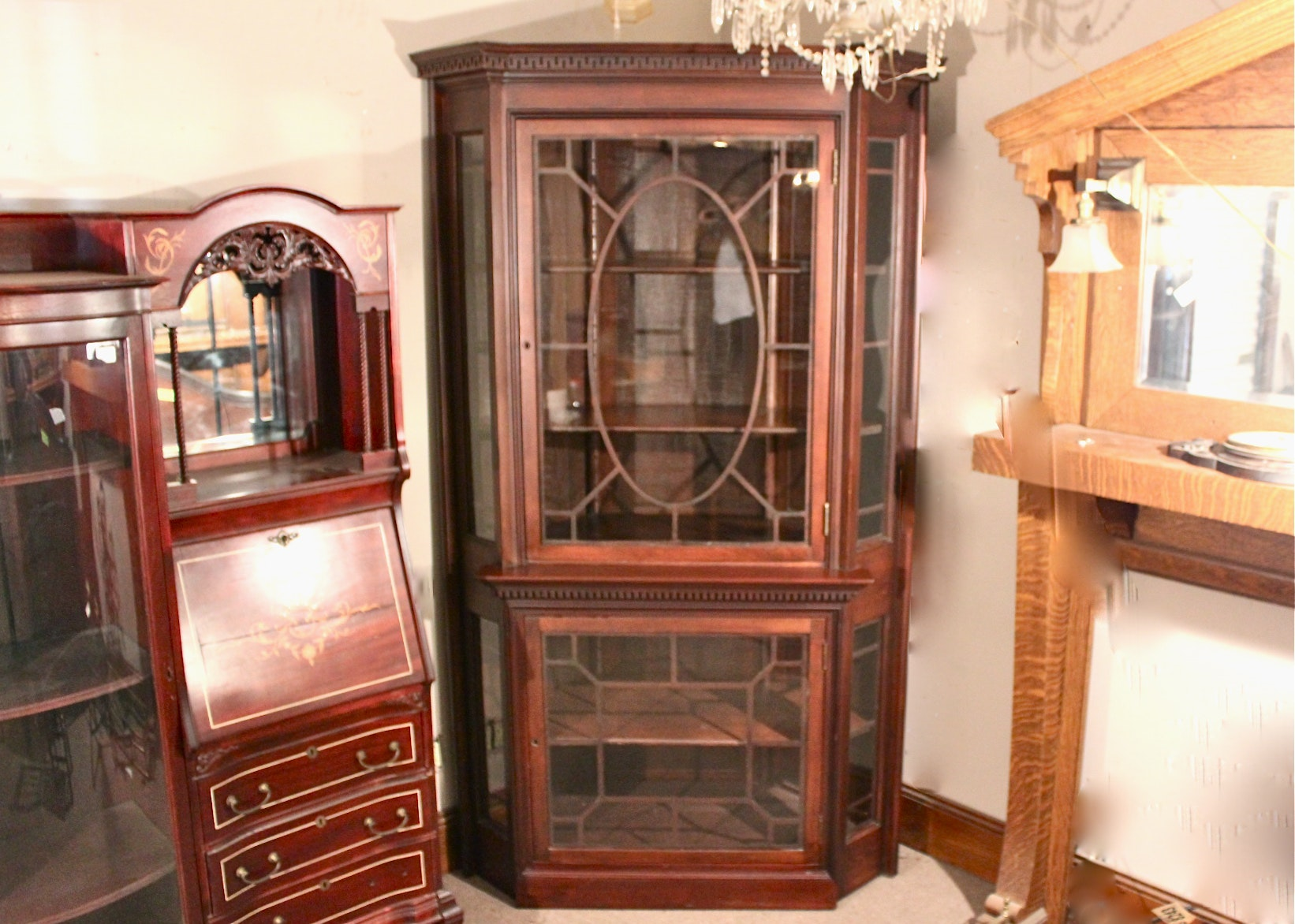 Gorgeous Antique Federal Style Mahogany Corner Cabinet ...