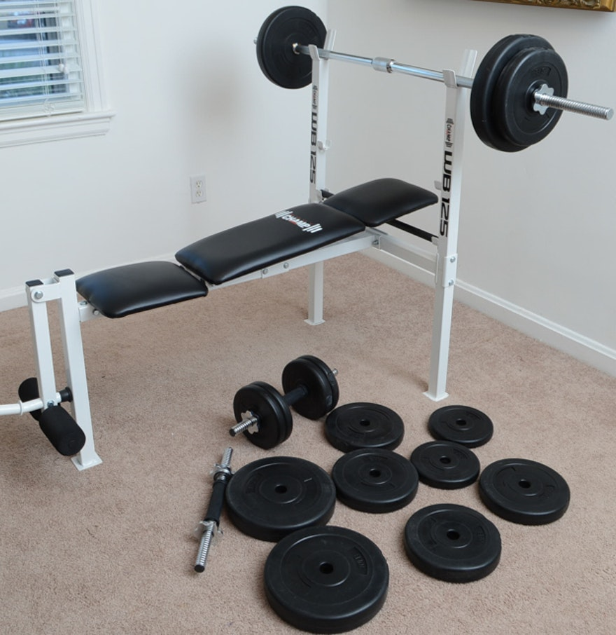 Body champ wb125 pro spirit free weight bench and weights ebth Weight bench and weights