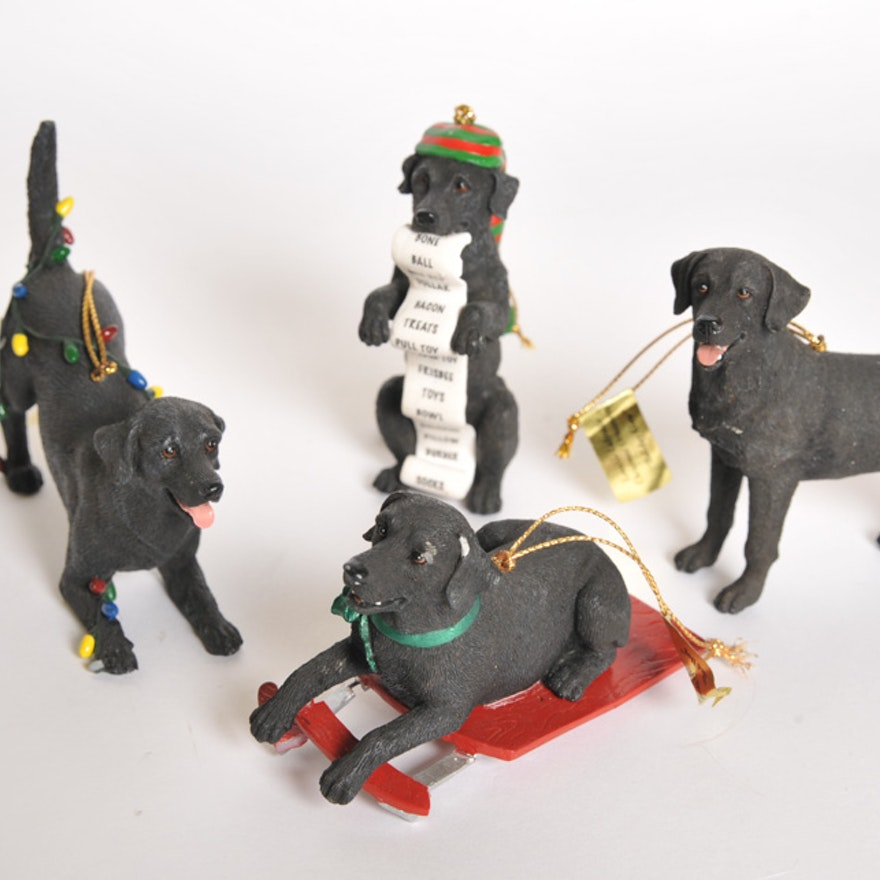 danbury mint black labs christmas ornaments - Black Lab Christmas Ornament