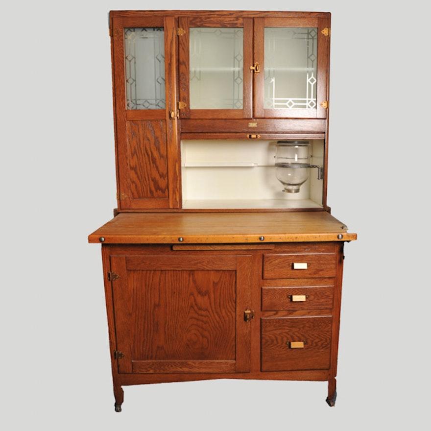 Golden Oak Kitchen Cabinets: Sellers Kitchen Cabinet In Golden Oak Finish