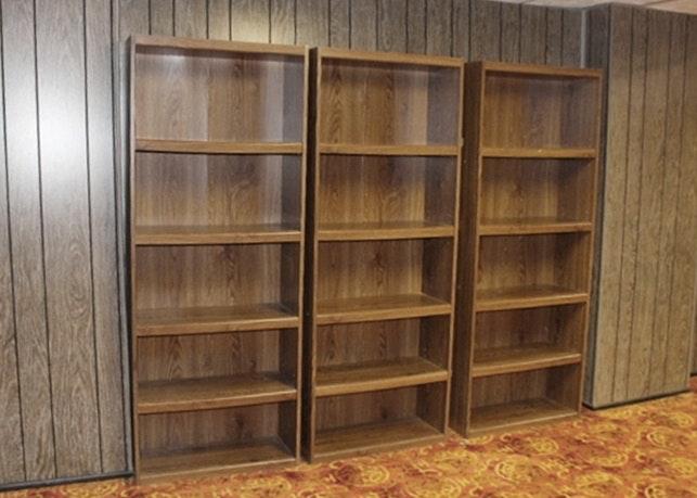 Four Sauder Five Shelf Bookcases