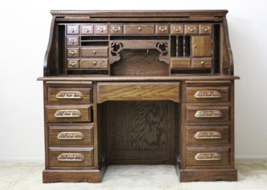 Large Wood Roll Top Desk