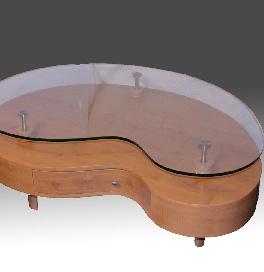 Mid Century Modern Style Kidney Shaped Glass Top Table Ebth