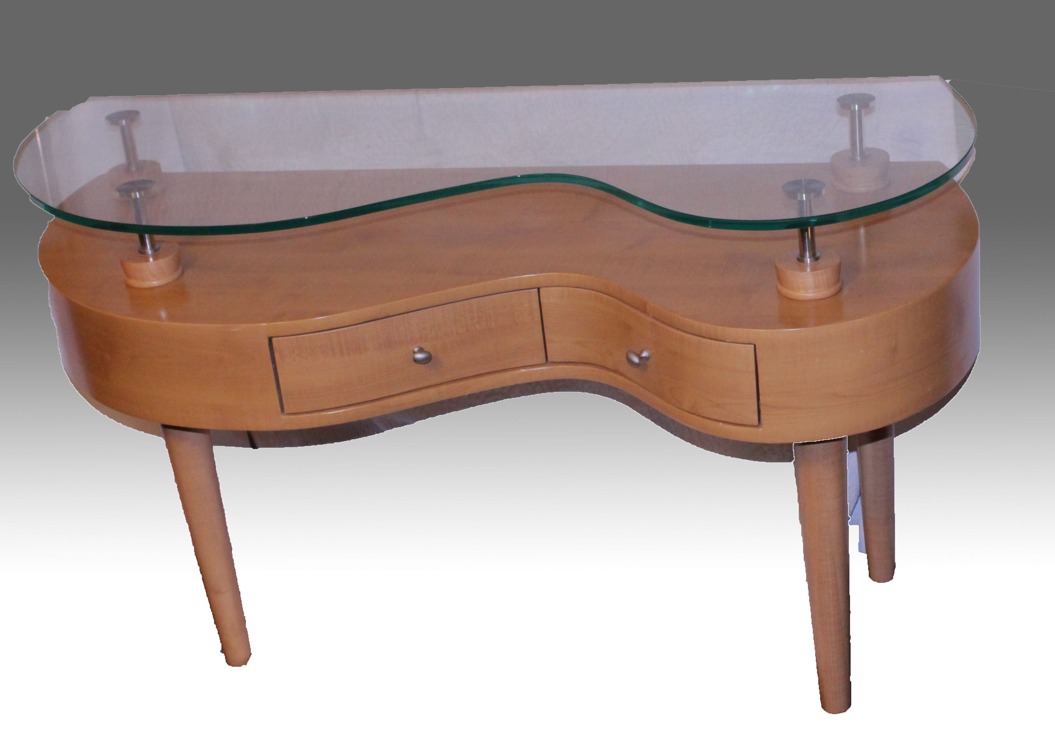 Mid Century Modern Style Half Kidney Shaped Glass Top Table EBTH