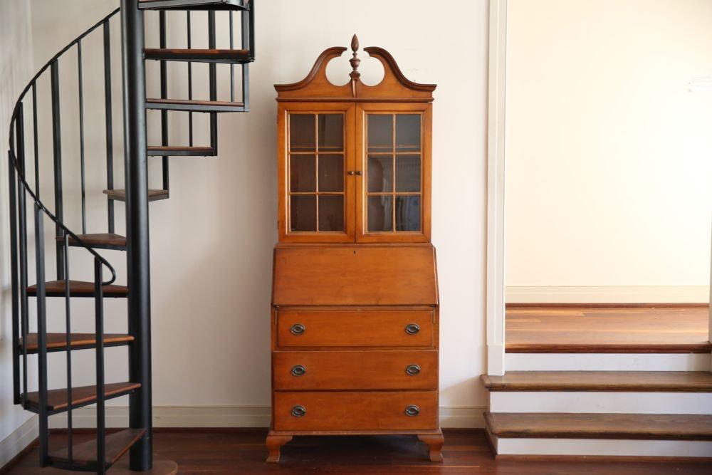 Vintage Federal Style Hard Rock Maple Secretary Bookcase
