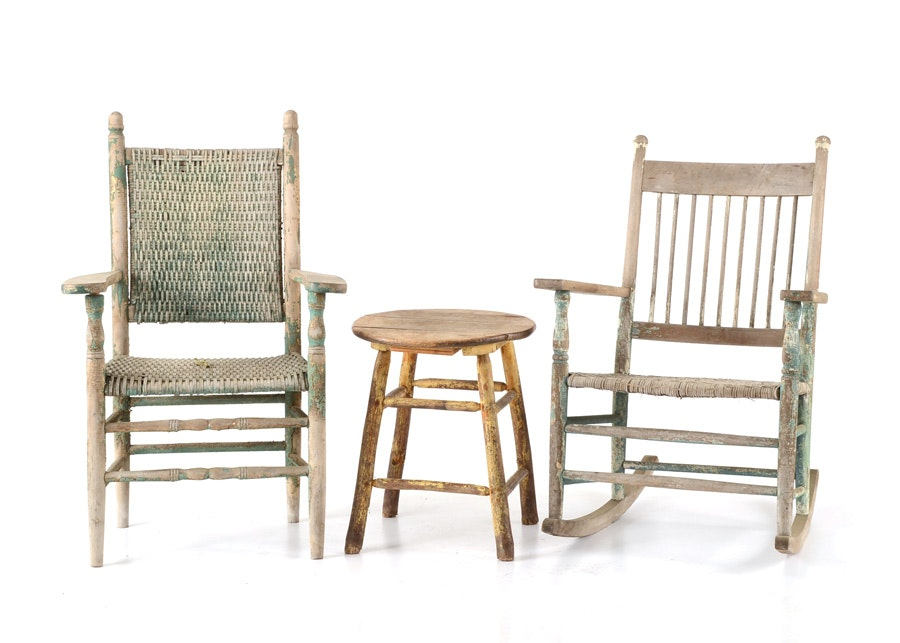 Primitive Chairs And Table ...